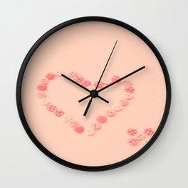 Button Heart  Wall Clock