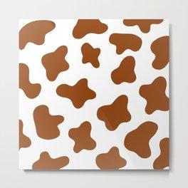 Tawny Brown Cow Spots Pattern (brown/white) Metal Print