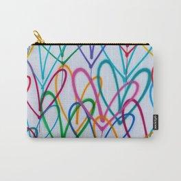 Multicoloured Love Hearts Graffiti Repeat Pattern Carry-All Pouch