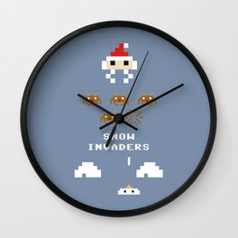 Snow Invaders Wall Clock