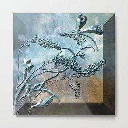 Metallic Dragonfly Floral with gems Metal Print