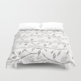 Gray ivory hand drawn watercolor leaves floral berries pattern Duvet Cover