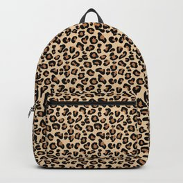 Leopard Print, Black, Brown, Rust and Tan Backpack