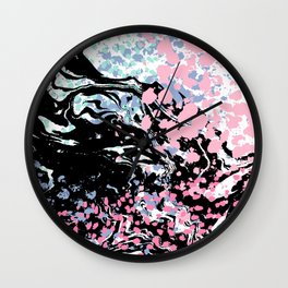 Abstract painting modern minimal ocean space galaxy space art minimalist pink and mint Wall Clock