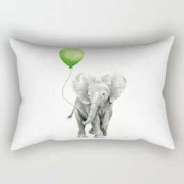 Baby Elephant Watercolor Green Balloon Neutral Color Nursery Decor Rectangular Pillow