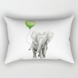 Baby Elephant with Green Balloon Rectangular Pillow