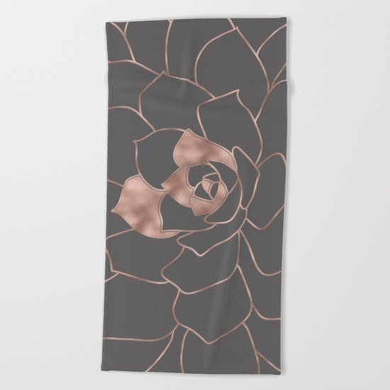 Rosegold  blossom on grey - Pink metal-effect flower Beach Towel
