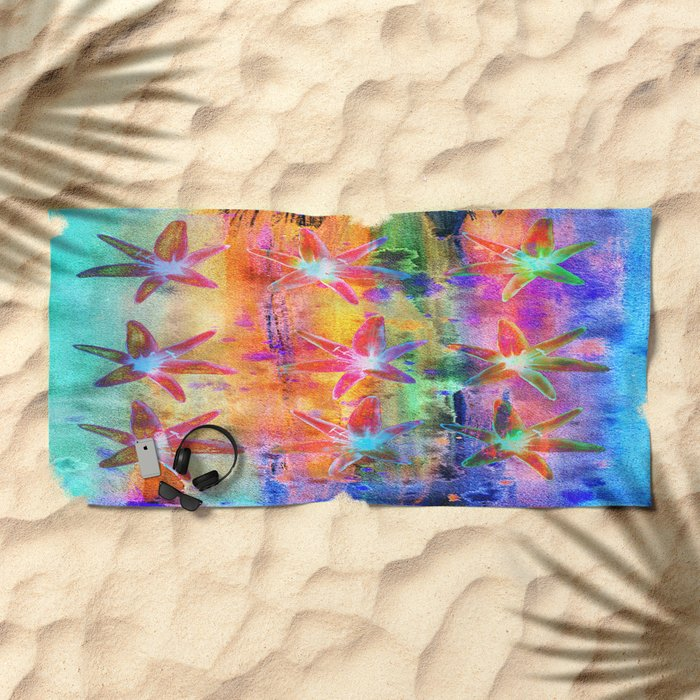 Colorful Lilies Beach Towel