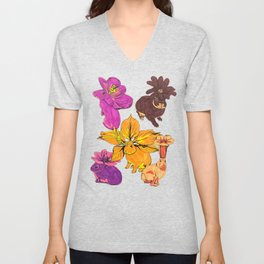 Flower Bunnies Unisex V-Neck