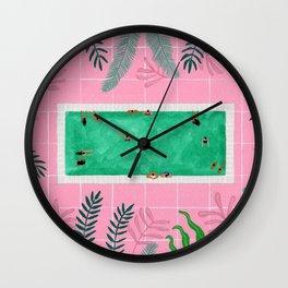 Pink riad pool Wall Clock