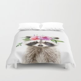 Baby Raccoon with Flower Crown Duvet Cover