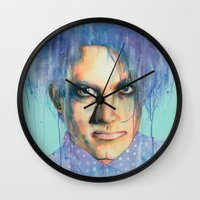 pastel goth Wall Clocks featuring Pastel Cure by Anne Blondie Bengard