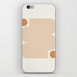 Minimalist Nesting Race Tracks Geometric Wiggly Line Pattern Orange Colors Bohemian Boho Mid Century Modern iPhone Skin