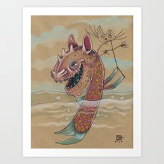 SWIMMING WITH PUPPETS Art Print