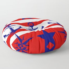 Nautical Red Floor Pillow