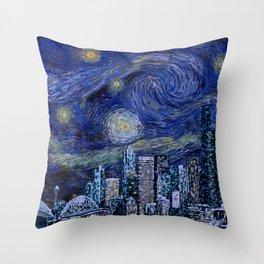 Seattle Starry Night Throw Pillow