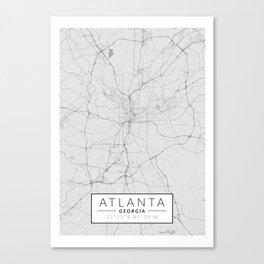 Atlanta Map - Black and White (Light) Canvas Print