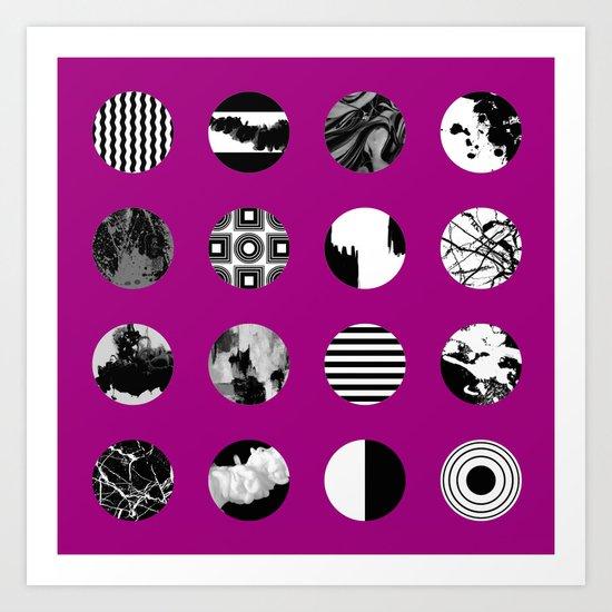 Purple Delight - Black And White Eclectic Random Designs On A Purple Background Art Print