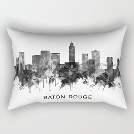 Baton Rouge Louisiana Skyline BW Rectangular Pillow