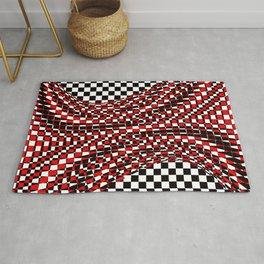 black white red Rug