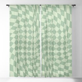 Forest Green Check Sheer Curtain