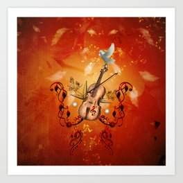 Violin with violin bow and dove Art Print