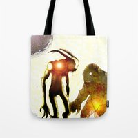 monsters Tote Bags featuring Monsters by Joe Ganech