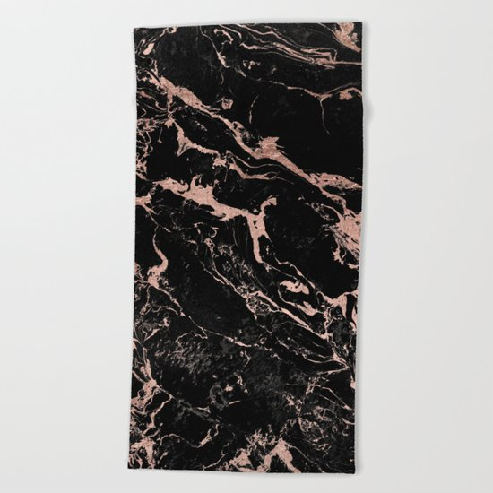 Modern girly faux rose gold foil black marble Beach Towel