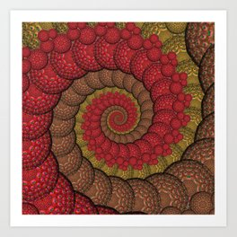 Red and Orange Hippie Fractal Pattern Art Print