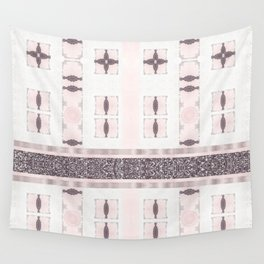 Silver Antique Details over Marble Design Wall Tapestry