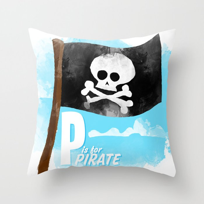 P is for Pirate Throw Pillow