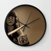 jack sparrow Wall Clocks featuring I am Captain Jack Sparrow by plopezjr