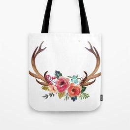 Floral Deer Antlers Tote Bag