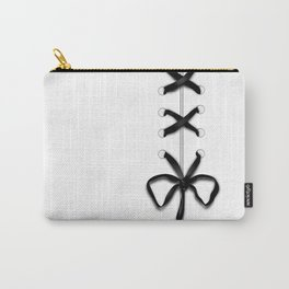 Laced Black Ribbon on White Carry-All Pouch