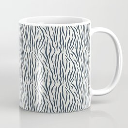 Dark Navy Blue Tiger Stripes Pattern on Alabaster White Coffee Mug