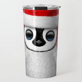 Baby Penguin Wearing a Santa Hat on Red Travel Mug