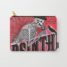 Vintage 1871 Red Absinthe Liquor Skeleton Elixir Aperitif Cocktail Alcohol Advertisement Poster Carry-All Pouch