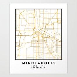 MINNEAPOLIS MINNESOTA CITY STREET MAP ART Art Print