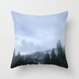 Snowy Peaks Above a Green Forest in Victoria, B.C. (Canada) Throw Pillow