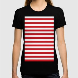 Narrow Horizontal Stripes - White and Fire Engine Red T-shirt