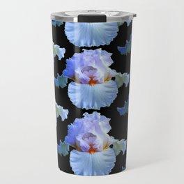 WHITE PASTELS BLUISH IRIS PATTERNS BLACK ART Travel Mug