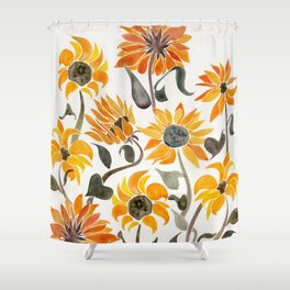 Sunflower Watercolor Yellow Black Palette Shower Curtain