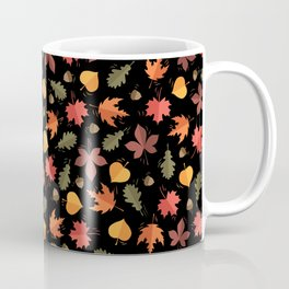 Autumn Leaves Pattern Black Background Coffee Mug