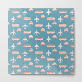 Travel pattern Metal Print