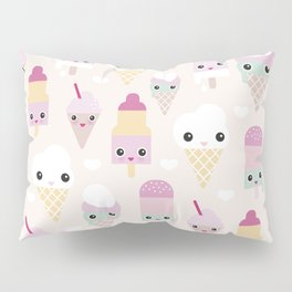 Cute kawaii summer Japanese ice cream cones and popsicle p Pillow Sham