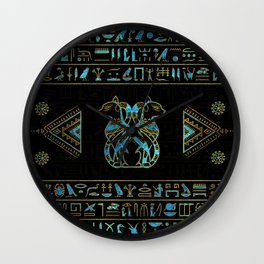 Egyptian Cats Gold and blue stained glass Wall Clock
