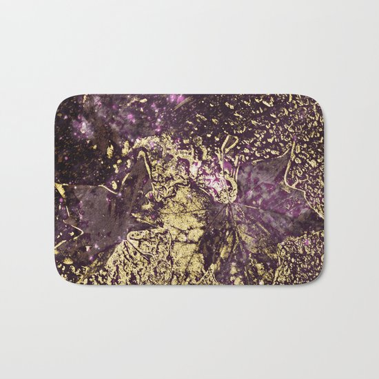 Purple leaves in melted gold Bath Mat