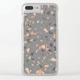 Coral and Gray Terrazzo Pattern Clear iPhone Case