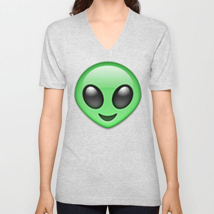Alien Emoji Unisex V-Neck by nolandempsey