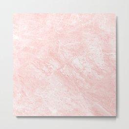 Blush pink white elegant modern marble Metal Print